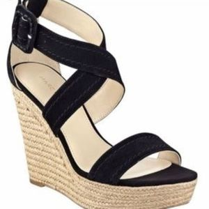 Marc Fisher Haely Wedge Black Jute Shoes Size 7M